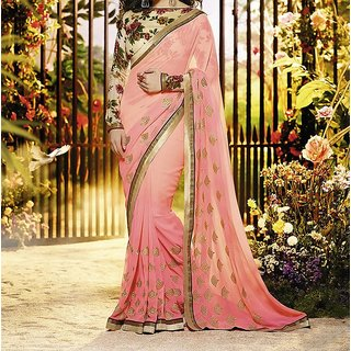 Trendz Apparels Pink Georgette Embroidered Saree With Blouse