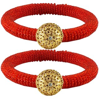 Red Stone Brass Bangle