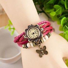 Round Dial Pink Leather Strap Womens Quartz Watch