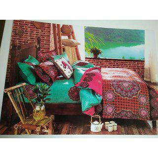 Akash Ganga Multicolor Cotton Double Bedsheet With 2 Pillow Covers(HAR-25)