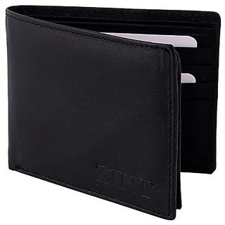ZINT Mens Wallet Genuine Leather Bifold Credit Card Holder Black Coin Photo ID Purse