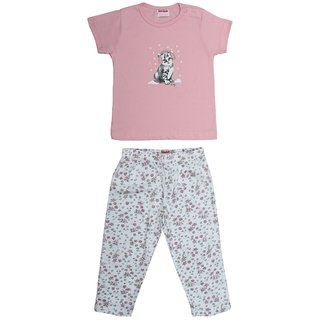 Soko Mesh Baby Girl Pink Pyjama Set