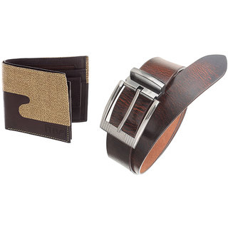 The Blue Pink Special Combo of 2 in1 Rich Pu Leather Wallet And Genuine Leather Belt (CAGE0212-FAB0802)