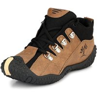 Clymb Men's Brown and Black Lace-up Casual Shoes