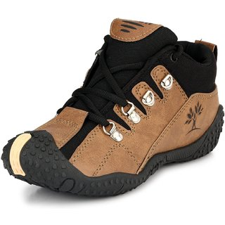 Clymb Black Brown Canvas PVC Lace-up Smart Casual Shoes For Men