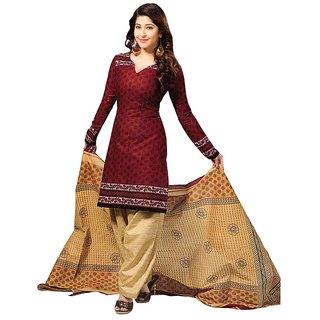 Aaina Maroon Poly Cotton Printed Dress Material(SB-3151)