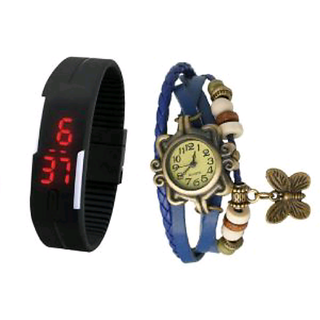 TRUE CHOICE NEW LEATHER AND LED COMBO FOR BOYS GRILS ALLwatch combo