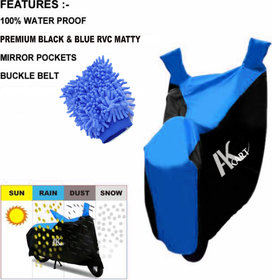 Ak Kart Black  Blue Bike Body Cover With Microfiber Vehicle Washing Hand Cloth For Yamaha Fascino