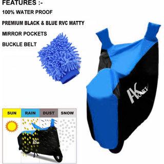 Ak Kart Black  Blue Bike Body Cover With Microfiber Vehicle Washing Hand Cloth For Yamaha Saluto