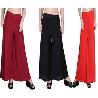 RamE  Mahroon ,Orange , Black Trousers,palazzo pant for girls,ladies