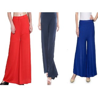 RamE-Medium size Orange,Nevy blue and Royal Blue Trousers,palazzo pant for girls,ladies