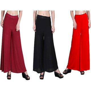 RamE-Medium size Mahroon,Black and Red Trousers,palazzo pant for girls,ladies