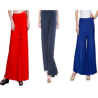 RamE Red,nevy blue and royal blue Plazzo pant ,palazzo trousers (Medium size)