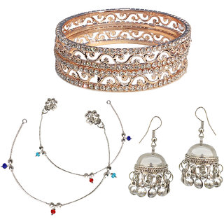 Anklet Bangle  Earring Combo-1 by Sparkling Jewellery