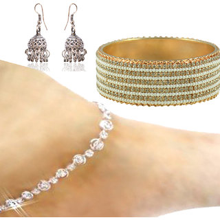 Sparkling Jewellery Gold Plated Designer 1 Bangle, 1 Pair Of Anklet, 1 Pair Of Earring For Women