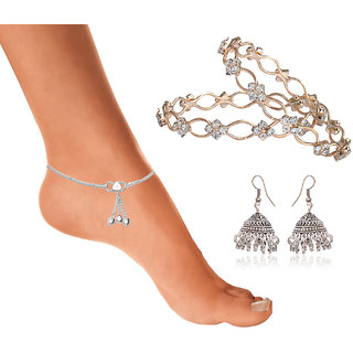 Anklet Bangle  Earring Combo-3 by Sparkling Jewellery