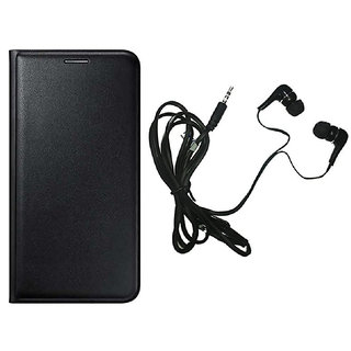 kanish  Leather Flip Case Cover With Earphone For- Samsung Galaxy E5 -Black