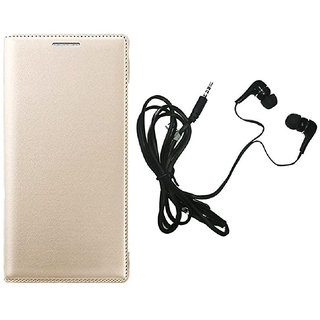 kanish  Leather Flip Case Cover With Earphone For- Samsung Galaxy E5 -Golden