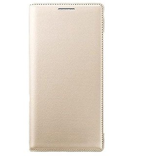 kanish  Leather Flip Case Cover For- Samsung Galaxy -E5 -Golden