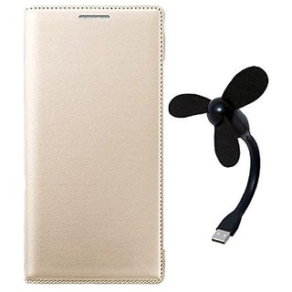 kanish Leather Flip Cover With USB Powered Mini Fan For- Samsung Galaxy E5 -Golden