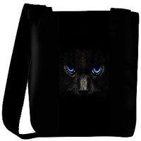 Snoogg Black Cat Blue Eyes Designer Protective Back Case Cover For Oneplus 3 Designer Womens Carry Around Cross Body Tote Handbag Sling Bags RPC-3109-SLTOBAG