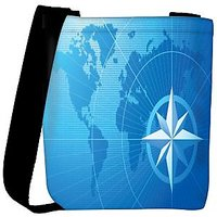 Snoogg Blue Compass Vector Background Designer Protective Back Case Cover For Oneplus 3 Designer Womens Carry Around Cross Body Tote Handbag Sling Bags RPC-4019-SLTOBAG