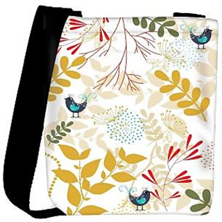Snoogg Bird And Leaves Designer Womens Carry Around Cross Body Tote Handbag Sling Bags RPC-10278-SLTOBAG
