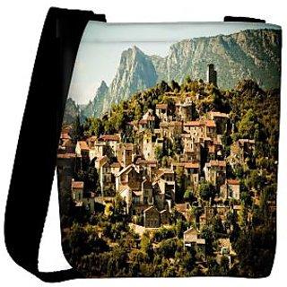 Snoogg Abstract Houses Designer Womens Carry Around Cross Body Tote Handbag Sling Bags RPC-8517-SLTOBAG