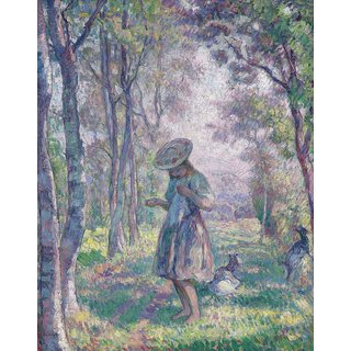 The Museum Outlet - Girl and Goats in the Forest of Pierrefonds, 1907 - Poster Print Online Buy (24 X 32 Inch)
