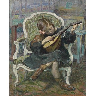 The Museum Outlet - Little Mandolin Player (Marthe Lebasque), 1905 - Poster Print Online Buy (24 X 32 Inch)