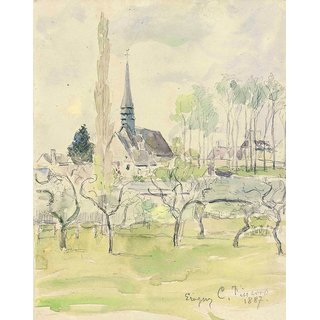 The Museum Outlet - The Church at Eragny, 1887 - Poster Print Online Buy (24 X 32 Inch)