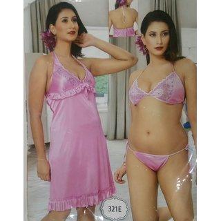 Women s Sleepwear 3pc Bra Panty Babydoll Pink Night Dress 321E Fun Bedroom  Set Honeymoon Gift Idea 2d2632c64