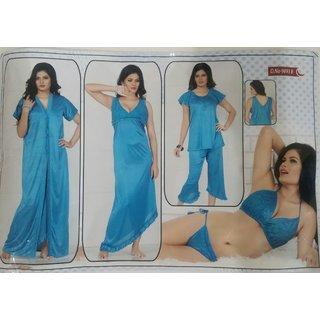 09b2f4ce7c Women s Sleepwear 6pc Blue Bra Panty Top Capri Nighty Overcoat New Satin  Night Robe Set Daily