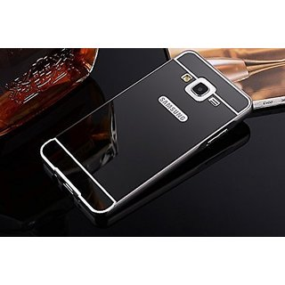 KPH Luxury Mirror Effect Acrylic back + Metal Bumper Case Cover for SAMSUNG GALAXY J2, Black