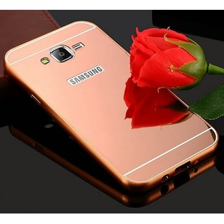 Luxury Mirror Effect Acrylic back + Metal Bumper Case Cover for Samsung Galaxy J7 - (New 2016 Edition) - Rose Gold