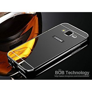 KIMOBH Luxury Metal Bumper Acrylic Mirror Back Cover Case For Samsung Galaxy J7 - (Black Mirror)