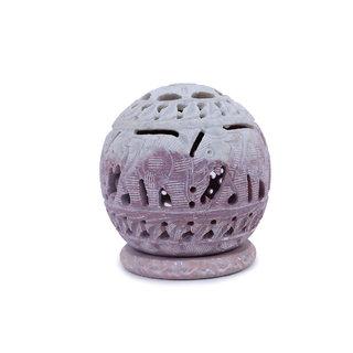Creative Crafts Gorara Stone Ball Shape Tea Light Candle Holder Small Home Decorative Handicraft Gift