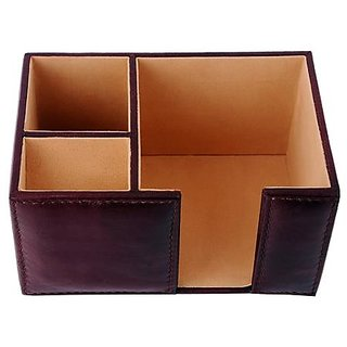 ZINT Brown Pure Leather 3 Compartments Pen Stand/Holder-cum-Paper Slip Holder Office Organizer Desk Accessory