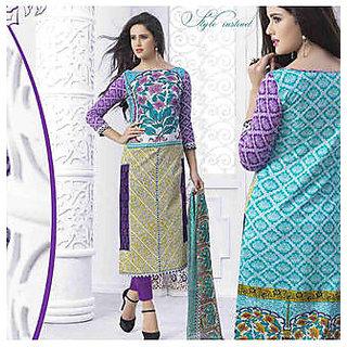 Maxxkart Blue Cotton Dress Material