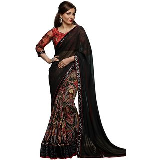 Styloce Black Chiffon Embroidered Saree With Blouse