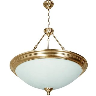 Fos Lighting Dish Antique Brass Top Covered 5 Light Hanging Light
