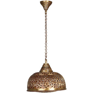 Fos Lighting Hand Pierced Brass Dome Single light Small Hanging