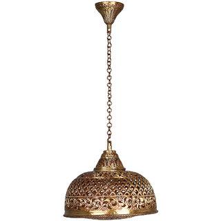 Fos Lighting Hand Pierced Brass Dome Single light Small Hanging