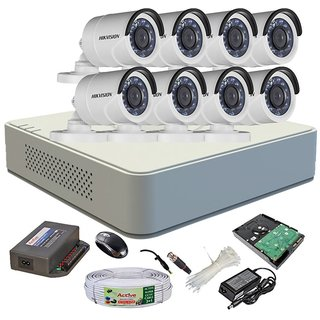 Hikvision Turbo 8Ch Dvr, Hikvision Turbo Bullet Camera 8Pcs, 1Tb Hdd (Full Combo)