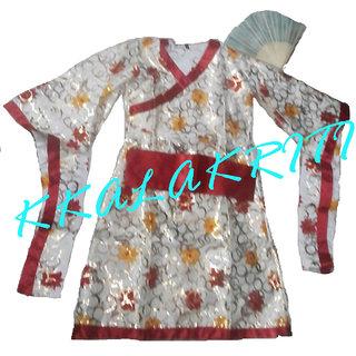 Japani Girl Fancy Dress Costume With Fan For Kids