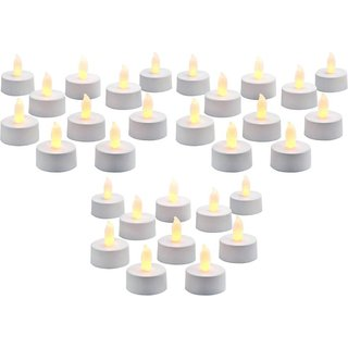 Battery Operated Fancy Flickering White Tea Light Diya, Deepak LED Light Pack of 30 Pcs