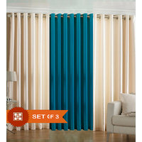 Handloomdaddy Pack Of 3 Beautiful Plain Eyelet Door Curtain (1 Blue & 2 Cream)