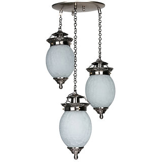 Fos Lighting Triple Chandni Crackle Oval Hanging Light