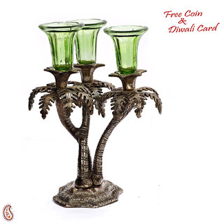 Palm Tree Design Silver Metal Finish Candle Bar With Green Glass Holder