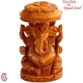 Pleasingly Carved Wooden Ganesh Idol